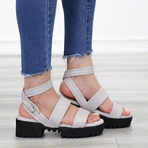 Gray  Strappy Chunky Heel Sandal Faux Leather